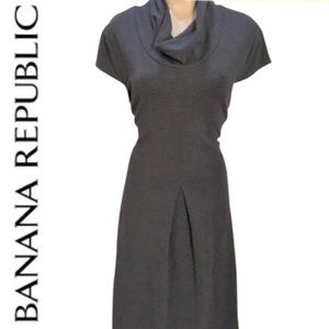 Banana Republic Gray Drape Neck Dress